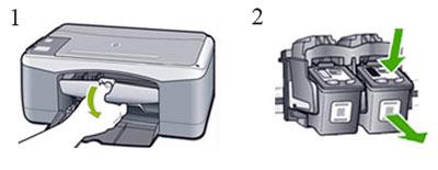 Замена картриджей HP Deskjet F300, F2100, F2200, F2400, F4100, F4500 Series